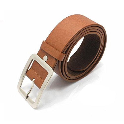 DKmagic Men's Casual Faux Leather Belt Buckle Waist Strap Belts (Brown) (Faux Leather Belt Strap)