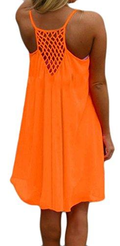 Cromoncent Dress Chiffon Strap Spaghetti Orange Swing Backless Womens Summer Shift rw4qr8