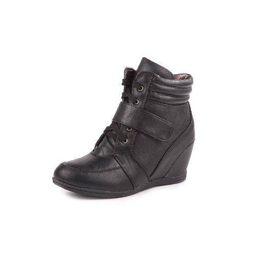 Reneeze BEATA-01 Womens Wedge Sneaker Booties- BLACK-10