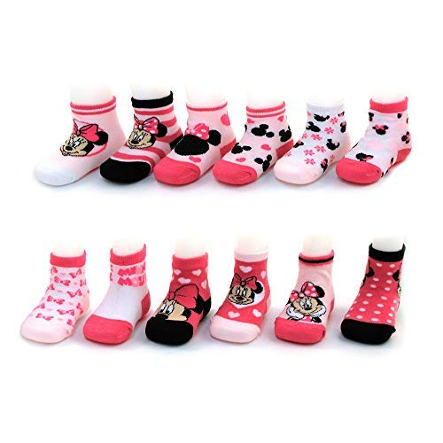 Disney Baby Girls Assorted Minnie Mouse Designs 12 Pair Socks Variety Set, Age 0-24 Months (6-12 Months, Pink-White-Black ()