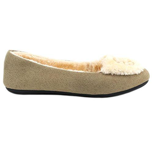 Amy Womens Mocassins Slip Op Indoor Outdoor Verfraaid Loafer Schoenen Pantoffels Beige