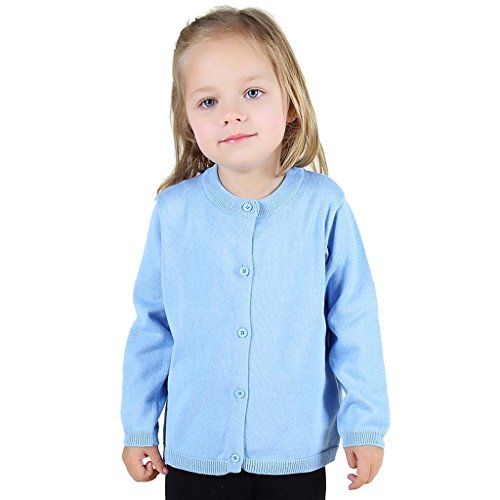Wennikids Baby Girls' Little Knit Cardigan Button Sweater for 12M-6T Large Light Blue
