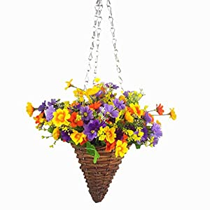 Mynse Artificial Daisy Flowers Hanging Wicker Basket Cone with Chain for Indoor Decoration, Purple and Orange 36