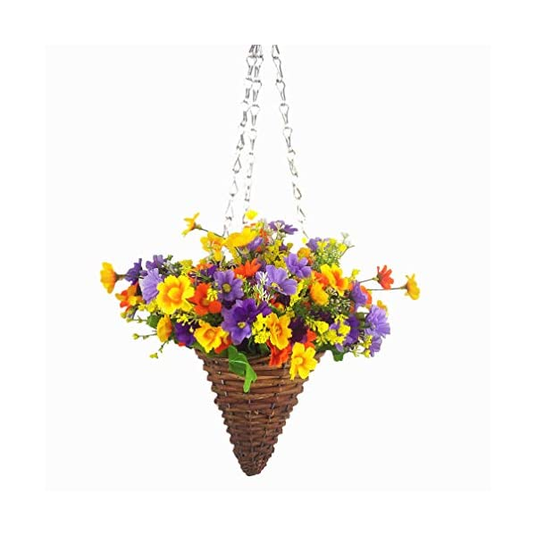 Mynse Artificial Daisy Flowers Hanging Wicker Basket Cone with Chain for Indoor Decoration, Purple and Orange