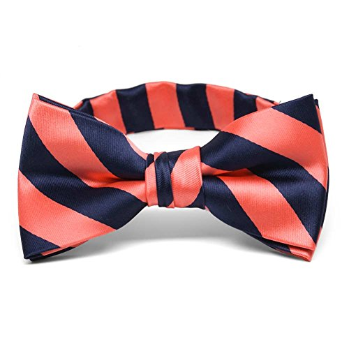 TieMart Boys' Bright Coral and Navy Blue Striped Bow Tie (Bright Coral)