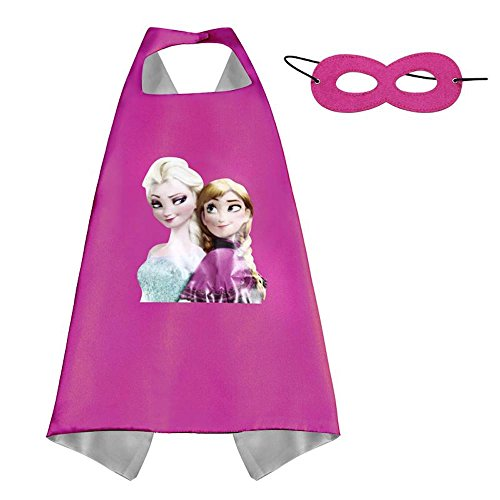 [Over 35+ Styles Superhero Halloween Party Cape and Mask Set for Kids (Anna & Elsa)] (Cop Costumes Tshirt)