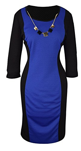 730a427396b Peach Couture 3 4 Sleeves Chic Printed Work Business Party Sheath Slimming  Dress Blue Black