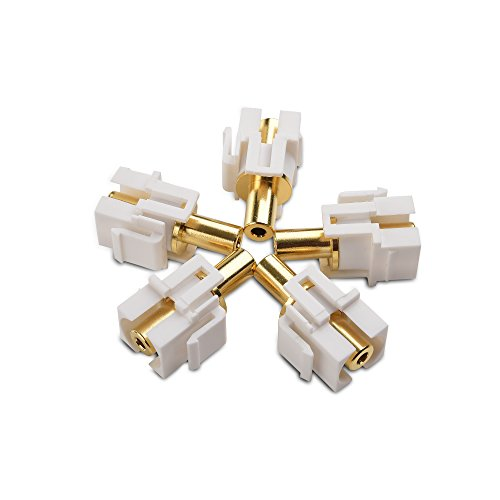 Cable Matters (5-Pack) Gold-Plated 3.5mm TRS Keystone Jack Inserts in White (Microphone Stereo Headphones Multimedia)