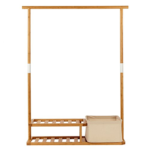 41LonMG%2BJNL - Heavy Duty Garmen Rack Assemble Hanging Clothes Rack Multi-Purpose Coat Shoe Hall Tree With Portable Laundry Basket