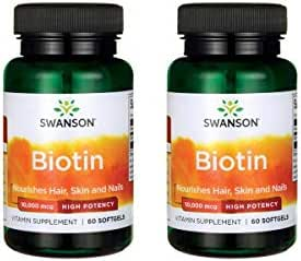 Swanson Biotin - High Potency 10,000 mcg 60 Sgels 2 Pack