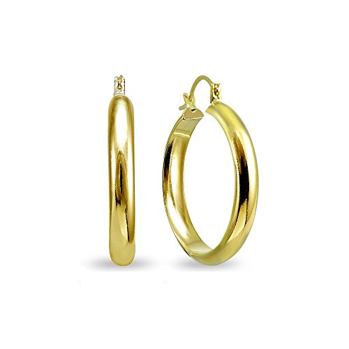 14K Gold 4x25mm Half Round Polished Lightweight Click-Top Hoop Earrings (Round Hoop Mm 25)