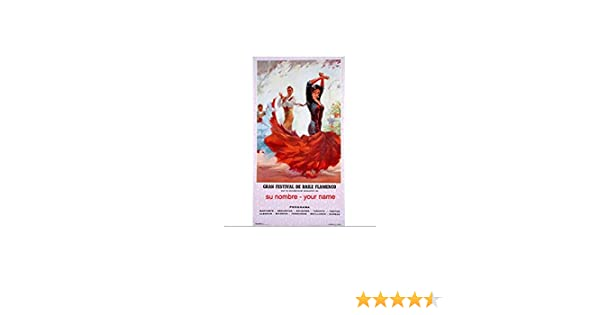 Cartel de flamenco personalizable - Vestido blanco: Amazon.es: Hogar