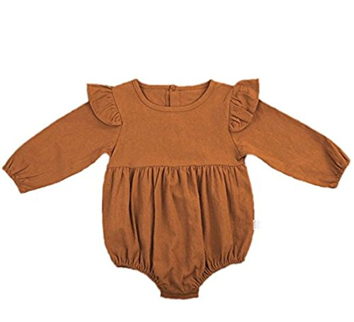 Nowimcute Infant Baby Girl Sisters Long Sleeve Bodysuit Romper Ruffles Fly Sleeve Outfit Clothes (70(6-12 months), Khaki) ()