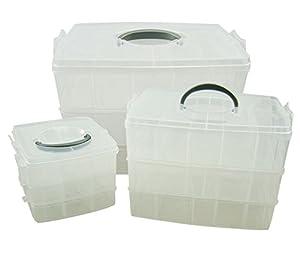 3 tier compartment crafts jewellery storage box 30 for Craft storage boxes with compartments