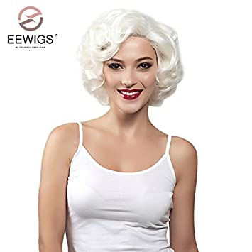 Amazon.com   EEWIGS Marilyn Monroe Wig Wavy Short Bob Blonde for White  Women Half Hand Tied Lace Front Synthetic Wigs Heat Resistant 100% Fiber  Hair   ... d5c17dbb30ee