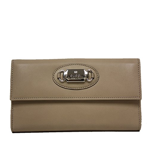 Gucci Leather Plaque Continental Flap Wallet 231841, Beige (Gucci Wallets Continental Wallet)