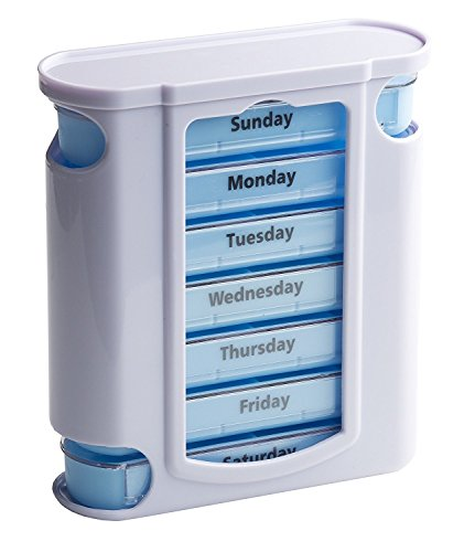 7-day Weekly Pill Box Organizer Tower with 4 Times a Day Compartments (Pillbox) for Each Day - Great Christmas Gift Idea for Mom, Dad, Grandpa, or Grandma