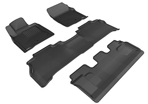 3D MAXpider Complete Set Custom Fit All-Weather Floor Mat for Select Toyota Land Cruiser Models - Kagu Rubber (Black) (Best Toyota Land Cruiser Model)