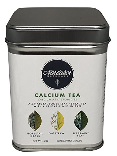 Nordaker Naturals Organic Herbal Calcium Tea 1.5oz Loose Leaf Makes ~75 cups (Small Batch by Certified Herbalists) Reusable Tee Steeping Bag Pure, All-Natural Fortifies Daily Calcium & Vitamin intake