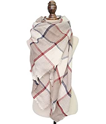 Women Tartan Scarf Stole Plaid Blanket Checked Scarves Wraps Shawl(Beige)