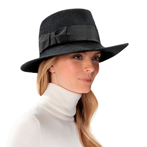 Eric Javits Luxury Fashion Designer Women's Headwear Hat - Profile Fedora Hat - Black by Eric Javits