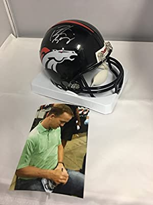 Peyton Manning Signed Autographed Denver Broncos Mini Helmet Manning #'ed Player Hologram With Photo From Signing