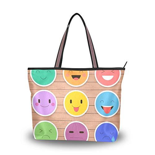 JERECY Funny Emoticon Emoji Shoulder Tote Bag Top Handle Polyster Shopping Handbag for Women Girls -