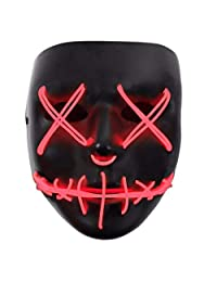 Tulas Light Up Purge Mask Stitched El Wire LED Halloween Rave Cosplay Props Supplies (Red)