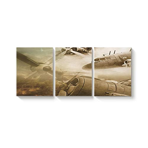 Arts Language 3 Piece Canvas Wall Art Painting for Office Bedroom Living Room Home Decor,Vintage Airplane Background Pictures Modern Artworks,24 x 28in x 3 Panels (Definition Votive)