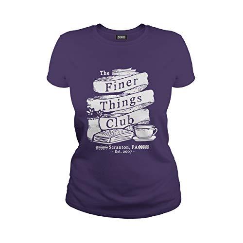 (Women's The Finer Things Club Michael Scott Dwight Schrute Dunder Mifflin T-Shirt (S,)