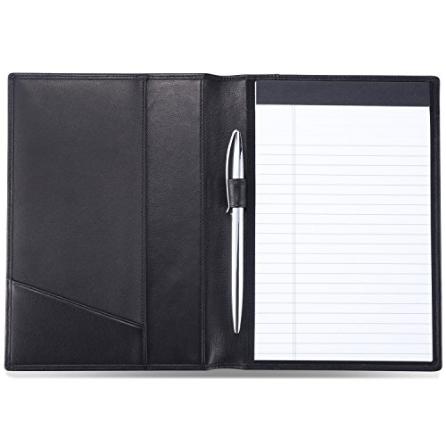 HISCOW Classy Leather Junior Padfolio with Pen Loop - Italian Calfskin (Classic Black)