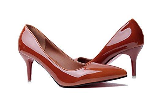 YCMDM DONNE sfumatura a due colori a punta Shallow Leathermouth-tacco alto scarpe di moda banchetti con gli insiemi sottili di scarpe , orange , 39