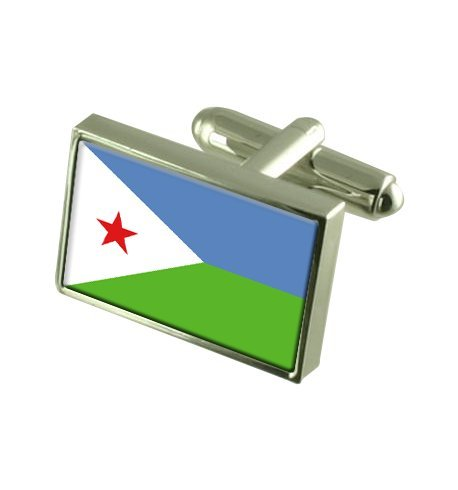 Djibouti Boutons de manchette drapeau avec boîte de souvenir gravé