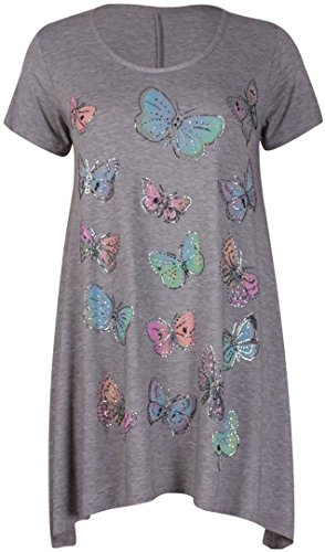 New Womens Plus Size Colourful Butterfly Sequin Print Hanky Hem Tops ( Light Grey , UK 14 / EU 42 )