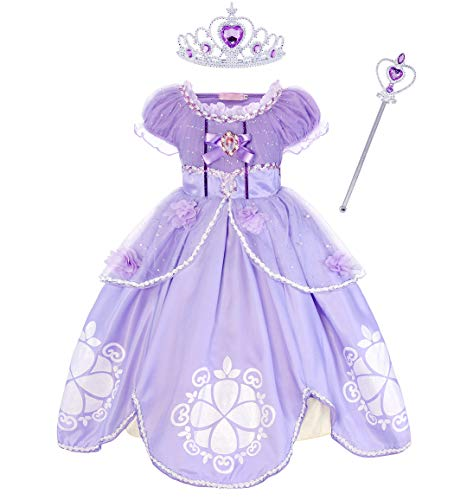 Jurebecia Sofia The First Dress for Girls Halloween Costume Birthday Party Cosplay Outfit Size 2T Purple