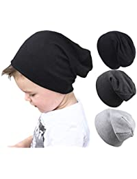 Baby Boy's Hat Kids Cool Knit Beanie Hats Toddlers Caps Vertical Tail Style 1-5T (Black Dark Gray Light Grey)