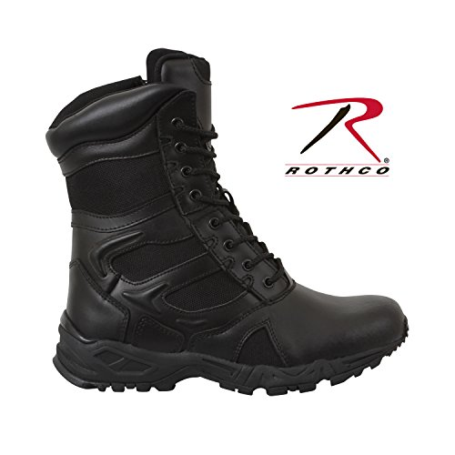 Forced Entry Tactical Boot - Rothco 8'' Forced Entry Black Side Zip Boot, Black,10R