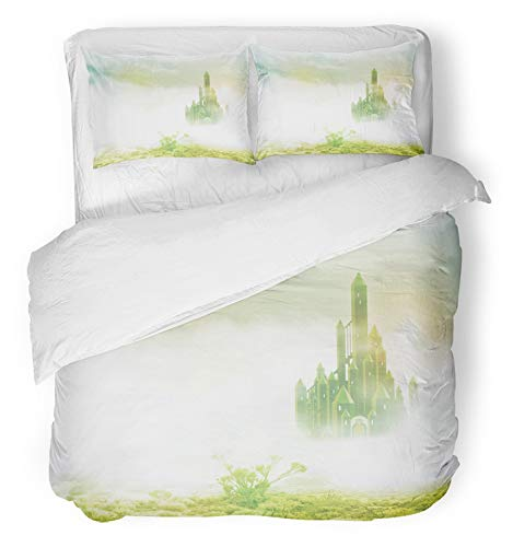 Emvency 3 Piece Duvet Cover Set Brushed Microfiber Fabric Breathable Yellow Wizard Emerald City in Mist Green Road Brick Magic Fairytale Fantasy Bedding Set with 2 Pillow Covers King Size