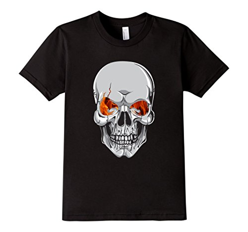 [Kids Skull Scary Halloween Costume or Biker T-Shirt 6 Black] (Biker Kid Costume)