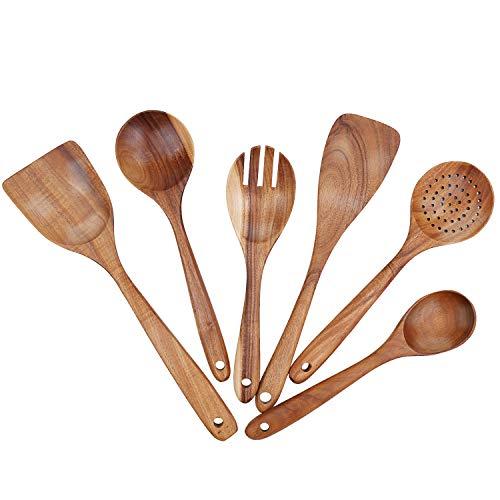 Freehawk Wooden Kitchen Utensils Set, Wood Cooking Spoons Set, Salad Fork, Strainer Spoon, Wooden Wok Spatula, Teak Wood Spatula, Soup Ladle, Serving Spoon, Set of 6 (Kitchen Wooden Utensil Set)