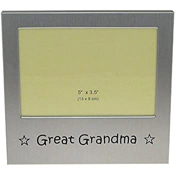 benerini 5-Inch-by-3.5-Inch Great Grandma Aluminum Expression Photo Frame, Brushed Satin Silver