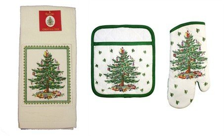 Spode Christmas Tree 3-pc Kitchen Gift Set Includes Oven Mitt, Square Pot Holder, Cotton Terry Kitchen Towel - Spode Christmas Tree Fabric