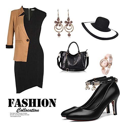Dress Chaussures Soirée des Bureau Escarpins Orteils Black Talons à Slip Dress Hauts Chaussures Boucle Travail Pointus La Cheville on Femmes Les Stiletto Uvw4BqETx