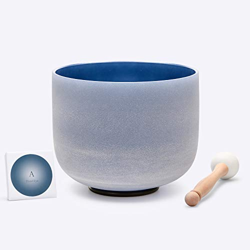 TOPFUND Crystal Singing Bowl Indigo Colored A Note Third Eye Chakra 8 inch, O- ring and Rubber Mallet Included