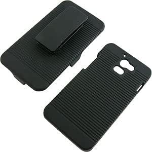Rubberized Hard Shell Case w/ Holster for Huawei Premia M931, Black