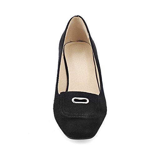 Fashion Heel Moda Talón de las mujeres grueso talón Square Toe Pump negro
