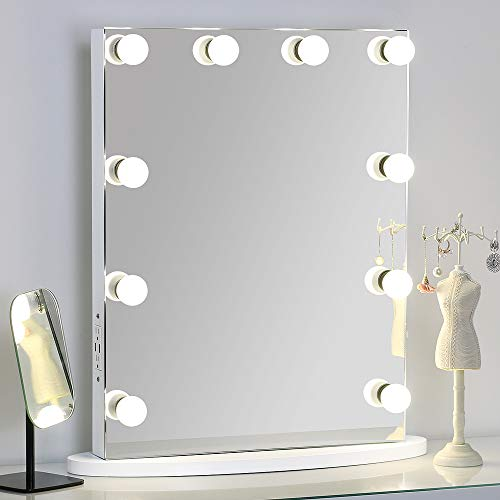 MissMii Flameless Hollywood Lighted Makeup Vanity Mirror with Lights,Tabletop or Wall Mirrors - Height Mirrors Bathroom Standard