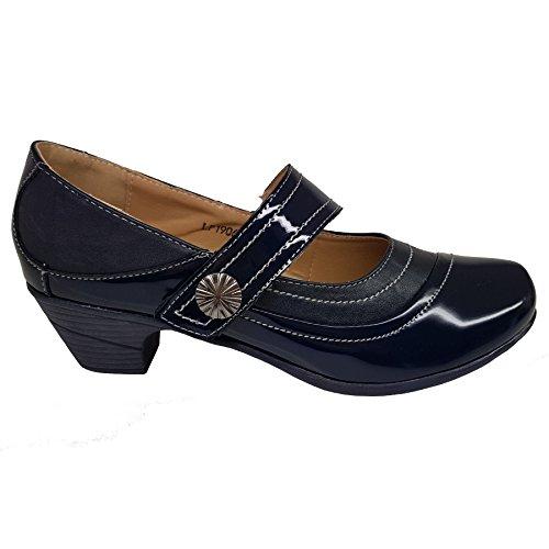Fantasia Boutique Ladies Patent Faux Leather Stitch Slant Strap Padded Insole Low Block Heels Blue IvDe4