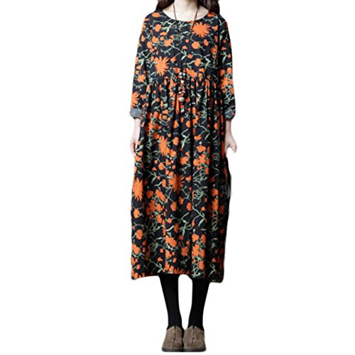 aliveGOT Women Long Sleeve Loose Floral Print Maxi Dresses Casual Long Dresses with Pockets (L) by aliveGOT