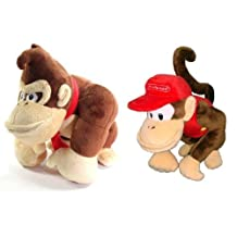 Official Set of 2 Little Buddy Donkey Kong & Diddy Kong Doll Toys Plush
